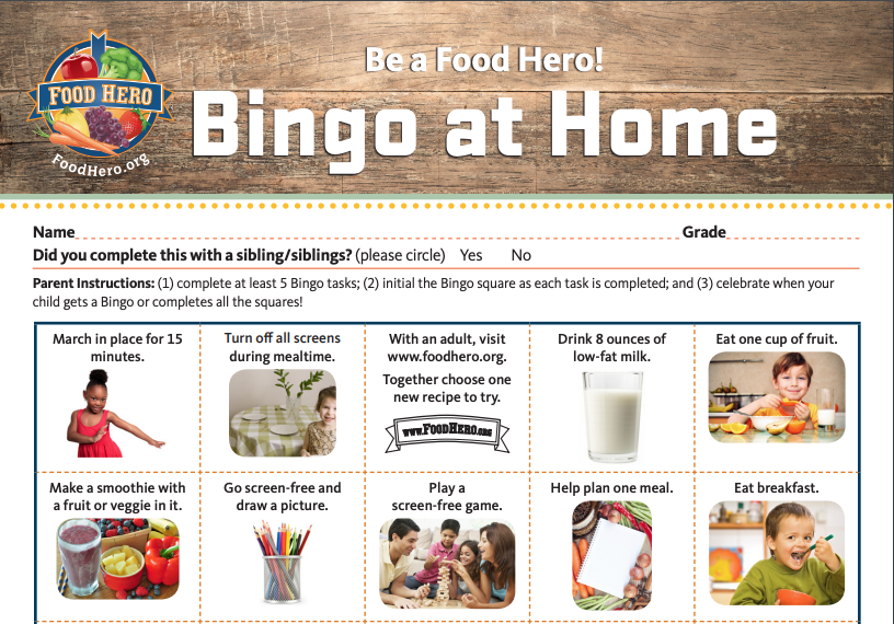 Screen shot of a partial Food Hero Bingo at Home card.