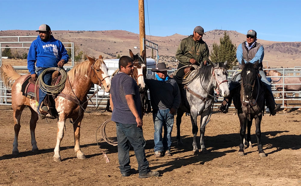 Participants in a free Warms Springs clinic to castrate wild horses on tribal lands. Photo by Scott Duggan.
