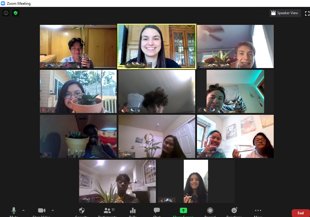 Screen shot from a Zoom meeting of the Youth Environmental Educators.