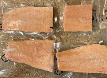 Frozen packaged salmon.