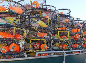 Crab pots in Newport, Oregon.